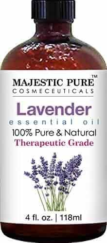 Majestic Pure Lavender Oil, 100% Pure and Natural with Therapeutic Grade, Premium Quality Blend of Lavender Oil, 4 fl. Oz