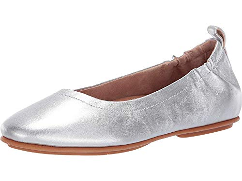 (FitFlop Women's Allegro Ballet Flat, Silver, US06 M US)