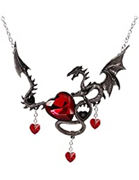 Gothic Statement Necklace Women Crystal Heart Pendant Charm Dragon Necklaces Game of Thrones