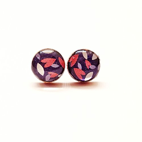 Pink hearts and dark blue sparkle wood stud earrings 8mm (Pink Ring Sapphire Star)