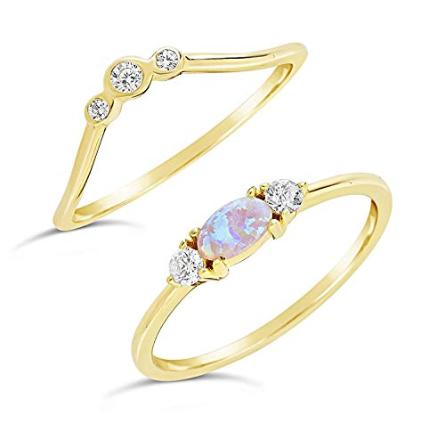 Vermeil Bezel (Sterling Forever - Gold Vermeil Created Opal & CZ Stackable Ring Set (in Gold and Silver) (Yellow-Gold-and-Sterling-Silver, 7))
