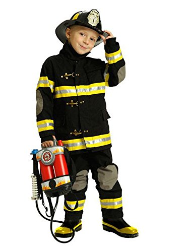 Jr. Fire Fighter Suit with Helmet, Size 4/6 (Black)]()