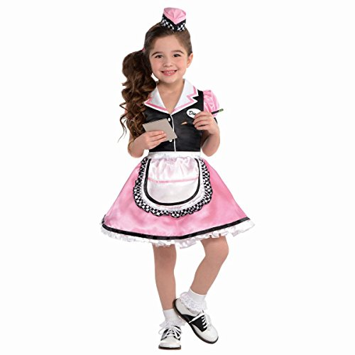Amscan Little Girls Dinah Girl 50's Sock Hop Waitress Costume, Small (4-6)