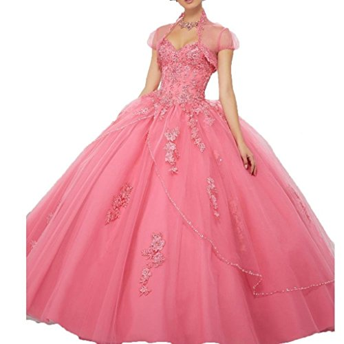 - YinWen Women's Sweetheart Lace Applique Strapless Formal Floor Length Ball Gown Prom Quinceanera Dress Size 12 US Pink