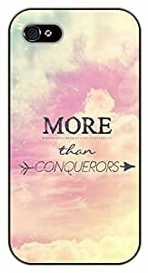 iPhone 4 / 4s Bible Verse - More than conquerors - black plastic case / Verses, Inspirational and Motivational