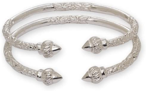 Ridged Arrow .925 Sterling Silver West Indian Bangles (Pair 67g) (MADE IN USA)