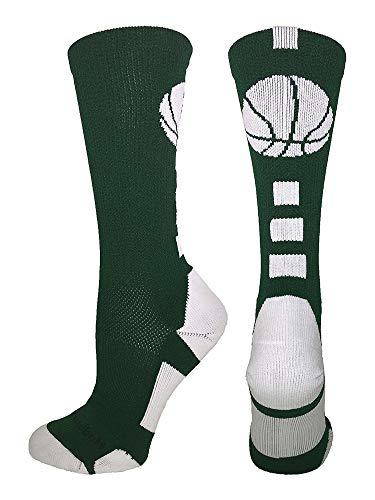 MadSportsStuff Basketball Logo Athletic Crew Socks, Medium - Dark Green/White (Nba Celtics Basketball Shoe)