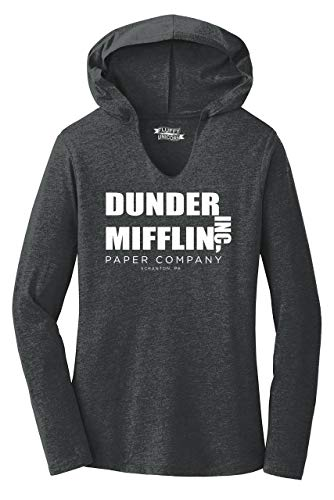 Ladies Hoodie Shirt Dunder Mifflin A Paper Company Funny TV Show Shirt Black Frost M ()