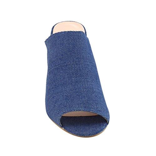 Beston De27 Femmes Peep Toe Slip Sur Mules Chunky Talon Courir Taille Unique Petit Tissu Denim Foncé