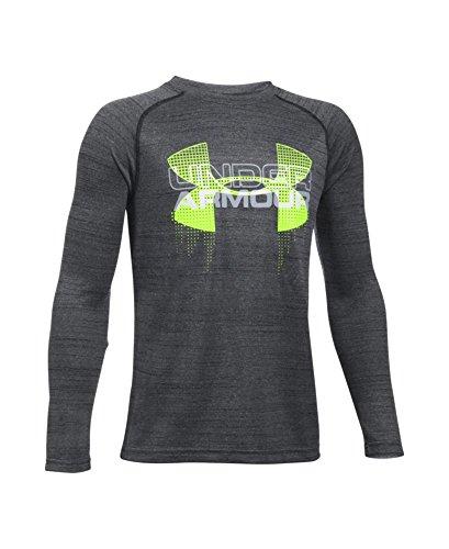 Under Armour Boys' UA Tech Big Logo Hybrid Long Sleeve T-Shirt Youth Large Black