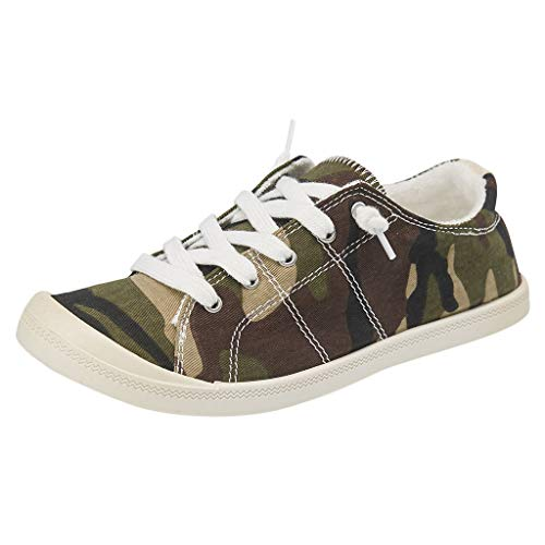 Meigeanfang Canvas Shoes for Teens Personality womens Camouflage Slip-On Comfort Lace-up Sneakers(Gray,37)