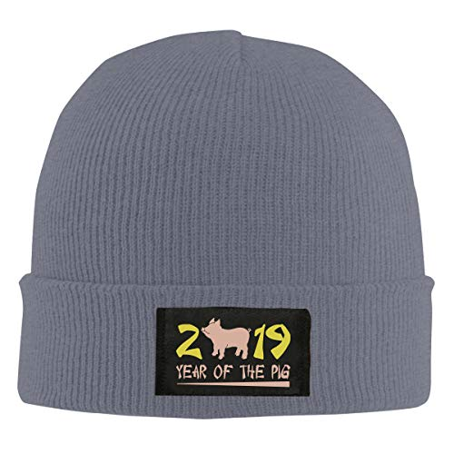 Unisex Year of The Pig 2019 Skull Cap Knit Wool Beanie Hat Stretchy Solid Daily Wear Deep Heather ()