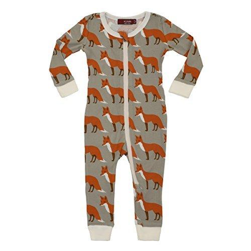 MilkBarn Organic Cotton Zipper Pajama - Orange Fox (3-4 Years)