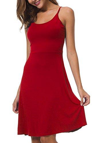 AUHEGN Women's Sleeveless Adjustable Spaghetti Strap Summer Sun Midi Dress Red L ()