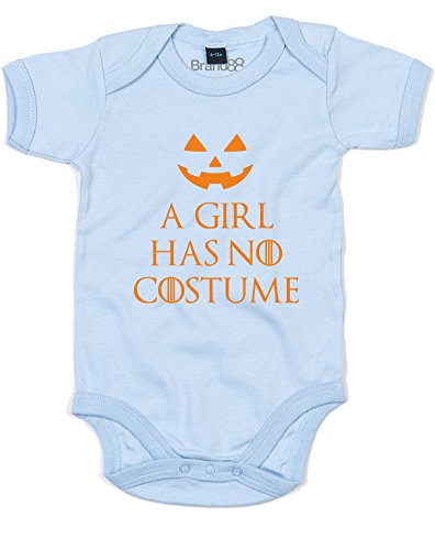A Girl Has No Costume, Printed Baby Grow - Dusty Blue/Orange 0-3 -