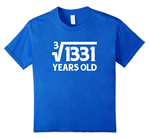 Kids Funny Math Geek 11th Birthday Cube Root T-Shirt 11 Year Old 12 Royal Blue