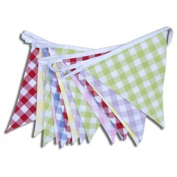 100/% Cotton Fabric Multi Coloured Gingham Bunting 1 Meter Length