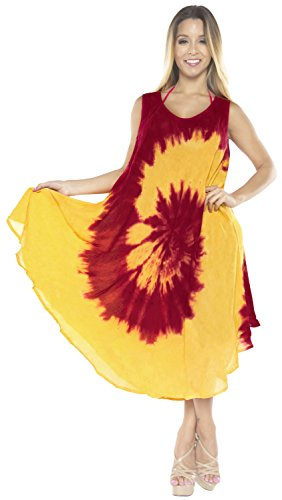 Women's Tie Dye Rayon Beach Wear Maxi Swimsuit Cover Up Casual Beach Dress Red