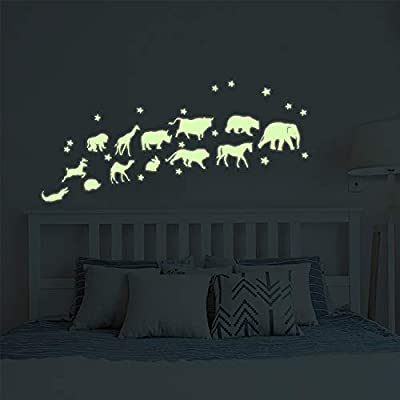 Glow in The Dark Stars Cute Animals Jungle Adventure Peel and Wall Decals - Animals Glow Wall Stickers for Boys Girls Bedroom Nursery Home Door Window Wall Decor