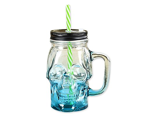 Ace Select Glass Cup 300 ml Skull Glass Wine Mug Drinking Jar with Lid and Straw - Blue ()
