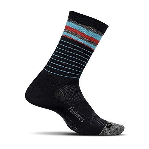 Feetures - Elite Light Cushion - Mini Crew - Athletic Running Socks for Men and Women - Cascade Black - Size ()