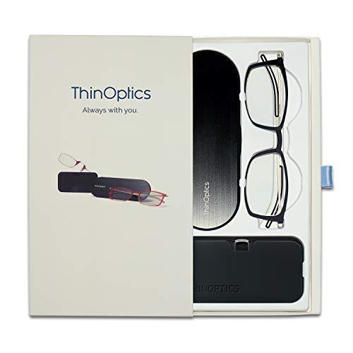 ThinOPTICS Unisex-Adult 2.0b Brooklyn, 2.0b Headline Rectangular Reading Glasses, Black