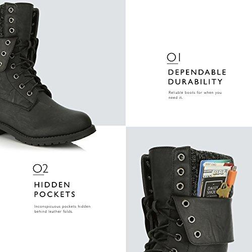 Dailyshoes Donna Militare Su Fibbia Stivali Da Combattimento Ankle Mid Calf Ripiegabile Tasca Porta Carte Di Credito Nera Pu