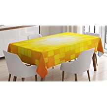 Yellow Decor Tablecloth by Ambesonne, Mosaic Retro Square Shapes and Patterns Pixels Rays Chic Contemporary Graphic Design , Dining Room Kitchen Rectangular Table Cover, 60 X 84 Inches