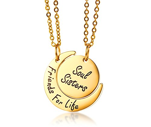 Set of 2 Gold Plated Stainless Steel Best Friend Moon and Sun Matching BFF Friendship Necklace for 2 Jewelry Gift (The Two Best Friends)