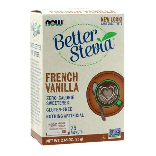 French Vanilla Stevia Packets, 75/box by Now Foods (Pack of 3)