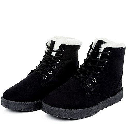 Women Warm Heel Snow Winter COOLCEPT Up Lace Flat Boots Ankle Black RHdxwcctq
