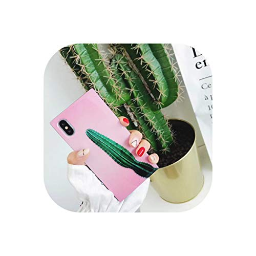 Green Plant Cactus Banana Leaves Phone Case for iPhone Xr Xs Max Glossy Square Cases for iPhone X 7 6 6S 8 Plus Soft Cover,Cactus,for iPhone Xs (Iphone 3gs Nike Case)