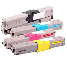 ColorBlack® 1 Set Of 4 Pieces Premium Compatible Oki C330 / C530 Toner Cartridges (Black / 44469801, Yellow / 44469701, Magenta / 44469702, Cyan / 44469703) With Chip, Suitable For Use In Oki C310DN / C330DN / C510DN / C530DN / MC351 / MC361 / MC561 / MC561DN / MC352 / MC362DN / MC562DN / C511DN / C531DN