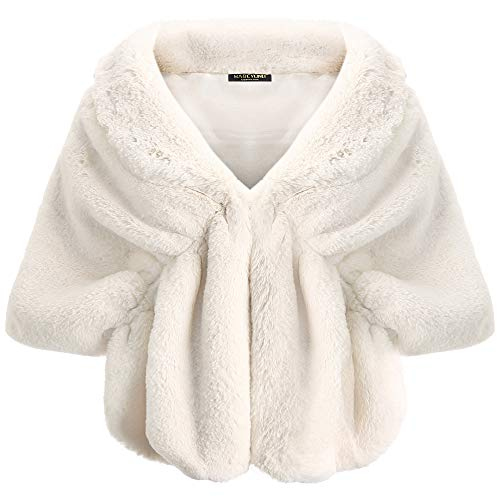 BABEYOND Womens Faux Fur Collar Shawl Faux Fur Scarf Wrap Evening Cape for Winter Coat (Beige, Large)