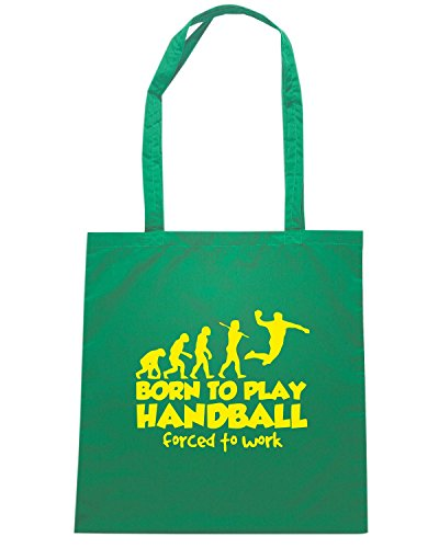 T-Shirtshock - Bolsa para la compra SP0042 Born To Play Handball Forced To Work Maglietta Verde