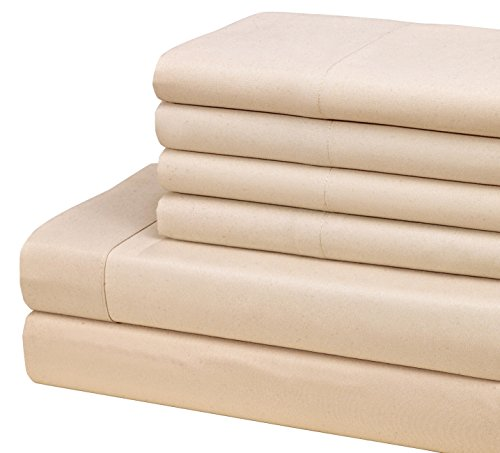 1800 Series Egyptian Collection Solid Microfiber 6 Piece Sheet Set (Queen, Cream) (Queen Cream Sheets compare prices)