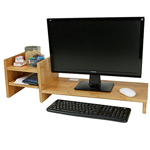 - Mind Reader BMDESK-BRN Monitor Stand Riser Organizer, 2 Tier Storage, Desktop, Monitor, Laptop, Eco Friendly Bamboo, Brown