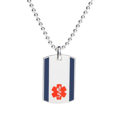 Divoti Custom Engraved 316L Steel Urban Medical Alert Necklace -Dog Tag-24