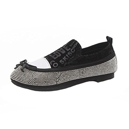 GIY Womens Fashion Rhinestone Loafers Flats Moccasin Round Toe Slip-On Casual Dress Loafer Oxford Shoes Black WyOLsJKjS