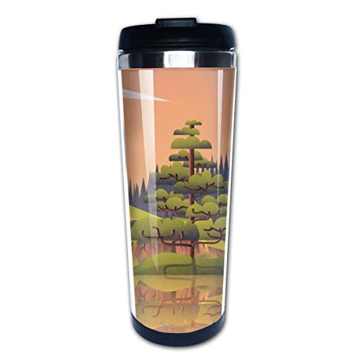 (Tidyki Thermal Travel Mug Waterfall Stone Forest Spring Plant Lake Stainlees Steel Coffee Tumbler Funny Insulated Tea Mug Cup 14-Ounces )