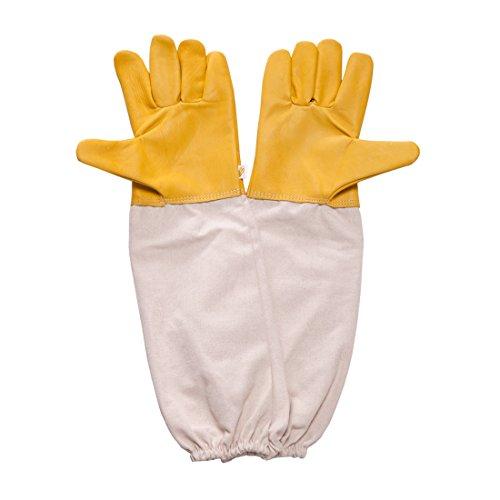 Feekr Professional Beekeeping Gloves Goatskin Anti Bite with Long Sleeve Beekeeper Protective Gloves 18.9 inch,XL