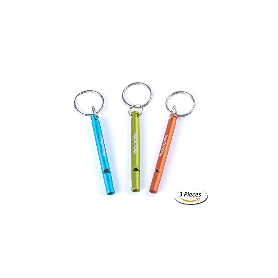 Emergency Survival Aluminum Whistle Key Chain for Referee Hiking Camping Climbing 3 Pack