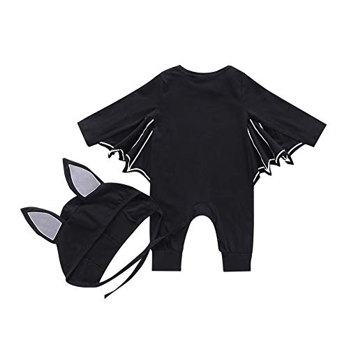 SANMIO Newborn Infant Baby Boys Girls Halloween Cosplay Costume Black Bat Cloak Romper Long Sleeve Jumpsuits with Hat Outfits