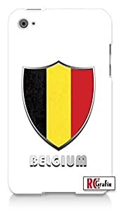 Premium Belgium Flag Badge Direct UV Printed Apple ipod 5 Ipod 5g Quality Hard Case Snap On Skin for ipod Gen 5 and 5, 5G (WHITE CASE)