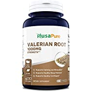 Valerian Root 1000mg 200 Veggie Caps (Extract 4:1, Non-GMO, Gluten Free & Odorless) Naturally Aids Sleep, Aids Anxiety, Helps with Stress Management
