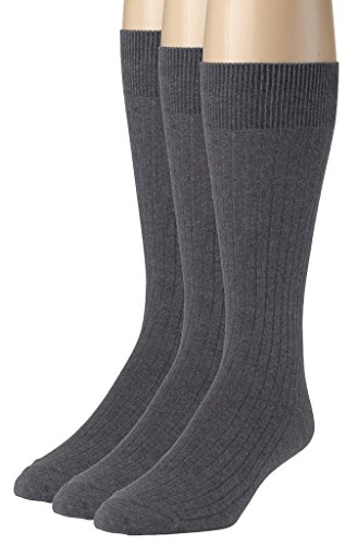 (Sportoli Men's 3 & 6 Pack Soft Ribbed Knit Classic Cotton Mid-Calf Crew Dress Socks - Heather Grey (10-13))
