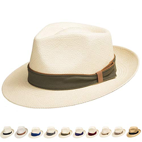Ultrafino Genuine Havana Classic Panama Straw Dress Hat Comfortable Khaki Gold Hatband 7 1/8