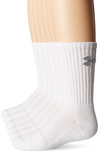 Under Armour Crew Socks (6-Pair), Solid White, Youth (One Youth Socks)