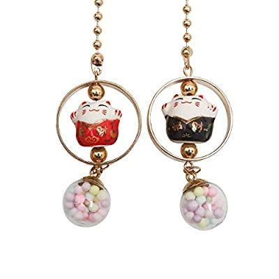 Lucky Cat Car Charm pendant Rear View Mirror Pendant Porcelain Figurine Hanging Pendant Car Accassories (Red & Black): Automotive