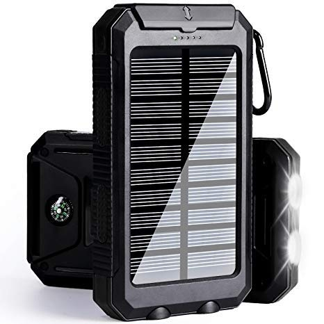 Solar Charger 30,000mAh, Solarprous Portable Solar Battery Charger External Battery Pack Phone Charger Power Bank for Cellphones Tablet with Flashlight and a 3 Feet Micro USB Cord (Black)